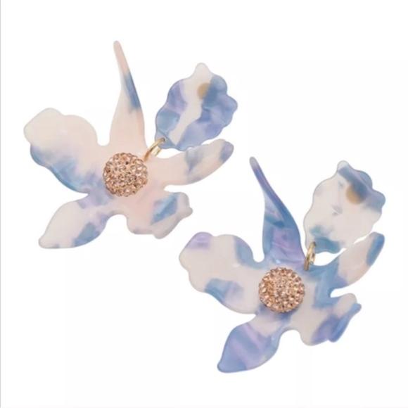 Jewelry - New Lilly Blue acrylic resin flower earrings